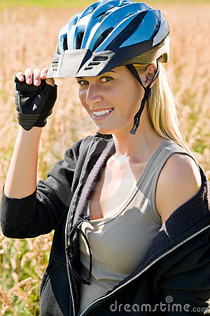 Barn för kvinna för cykelhjälm utomhus- sportive soligt