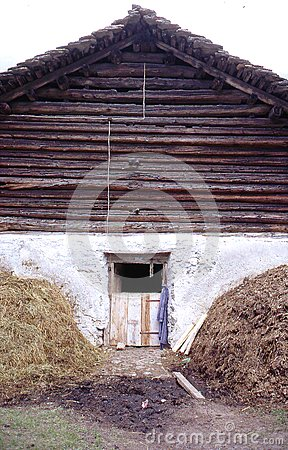 Barn with hay stacks,Bernese Overland. Switzerlanl