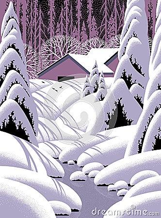 Barn Snow Scene Landscape