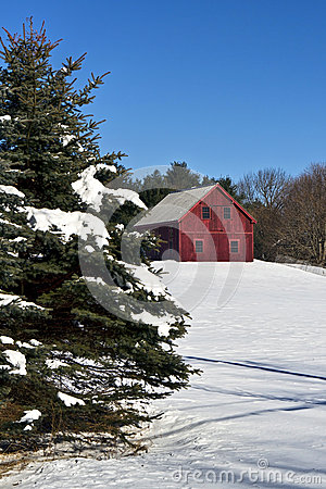 Free Barn Style Home In Snow Stock Images - 27792354