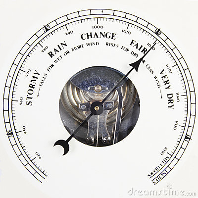 Barometer dial set to fair