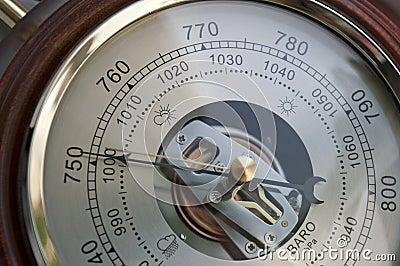 Barometer indicating atmospheric pressure reduction