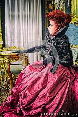 Baroness in baroque salon