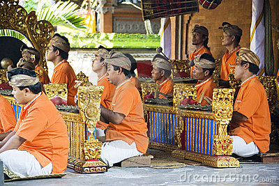 Barong Dance Musicians, Bali, Indonesia Editorial Stock Photo