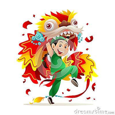 barongsai cartoon vector cartoondealercom 18033099