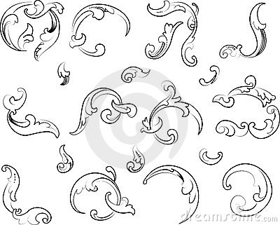 Baroque Clipart. Calligraphy Style.