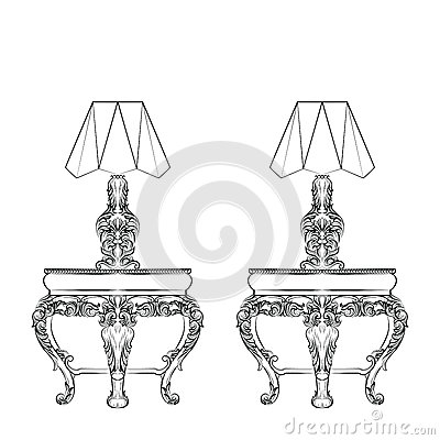 Baroque Elegant lamp table Cartoon Illustration