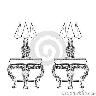 Baroque Elegant lamp table Cartoon Illustration