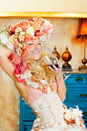 Free Baroque Fashion Blond Woman Drinking Red Wine Stock Photos - 23037003