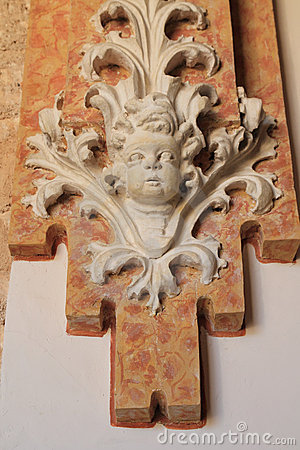 Baroque figure detail decorative wall ancient
