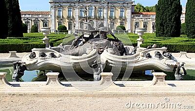 Baroque fountain near National Palace, Queluz