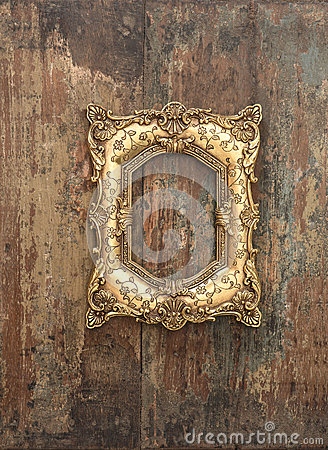 Free Baroque Golden Frame On Wooden Background. Grunge Texture Stock Image - 51158641