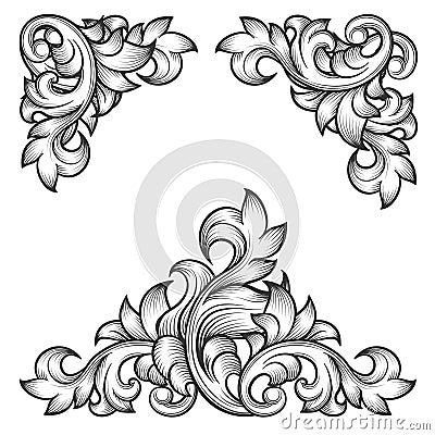 Free Baroque Leaf Frame Swirl Decorative Design Element Stock Images - 58863724