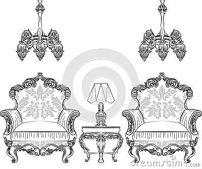 Baroque Rococo armchair set Stock Photo