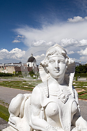 Baroque sphinx statue bust at Belvedere Palace Castle Vienna Aus