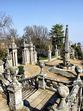 Obelisk and steps of Lamego in Portugal