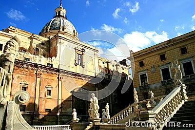 Baroque style statues & church in Pretoria square