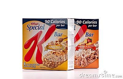 Barra especial del alimento de Kellogg s K Imagen de archivo editorial