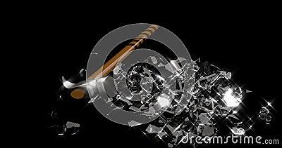Barrage à pignon en verre Économiser de l'argent Boîte monétaire Le marteau de fer casse un cochon en verre en petits morceaux illustration libre de droits