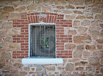 Barred jail window