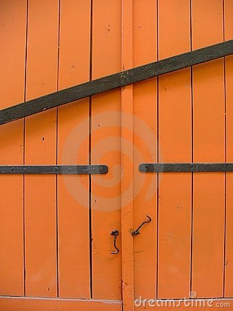 Barred orange shutters