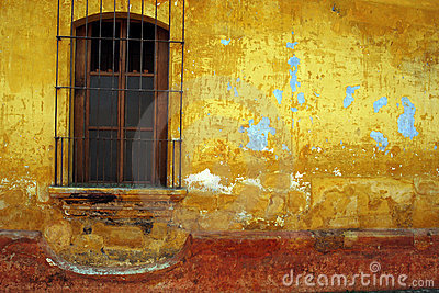 Barred window, Antigua, Guatemala.