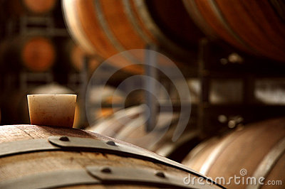 Wine barrels in a cellar