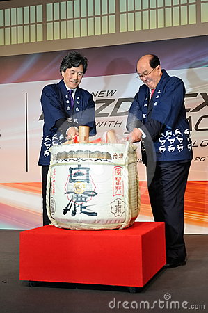 Barrel ceremony during launch of Mazda CX-5 Editorial Stock Photo