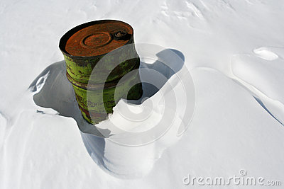 Barrel in snow