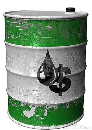 Barrel with a symbol of dollar and oil rotated