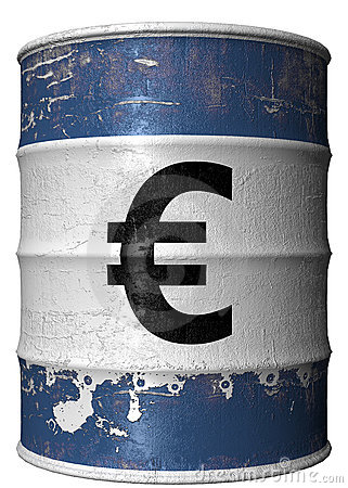 Barrel with a symbol of euro