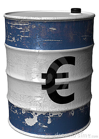 Barrel with a symbol of euro rotated