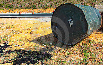 Barrel of tarmac  spilled at the road side