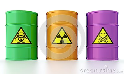 Barrel with toxic waste