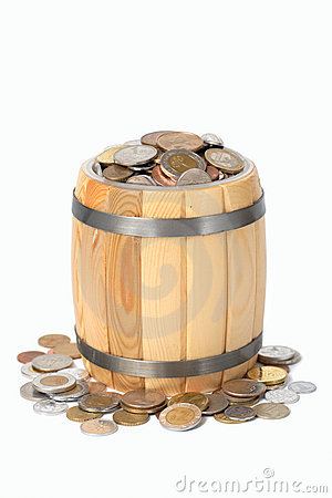 Free Barrel With Various Coins Stock Photography - 15782082