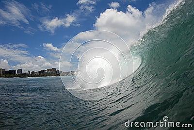 A barreling wave
