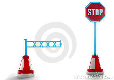 Barrier with stop road sign