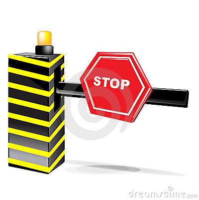 Barrier with stop sign isolated