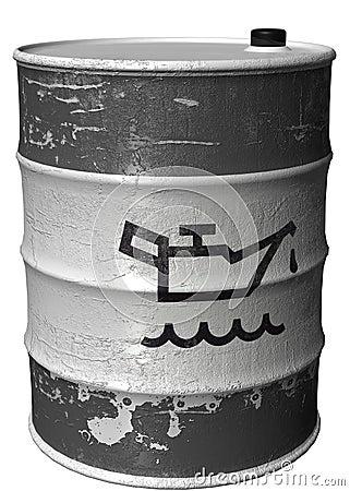 Barril Con Un Símbolo Del Petróleo Girado