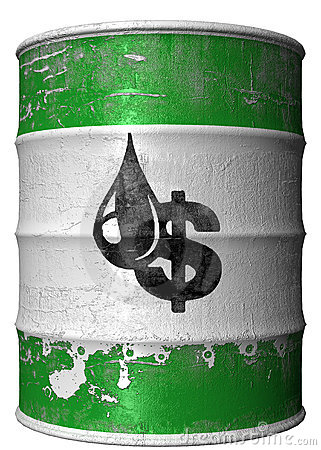 Barril con un símbolo del dólar y del petróleo
