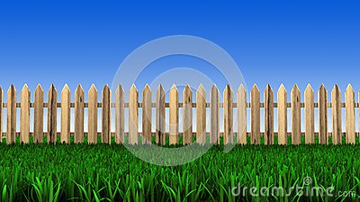 Barrière en bois et herbe verte