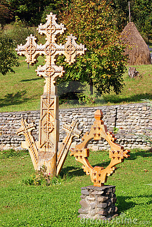 Barsana monastery: wooden cross