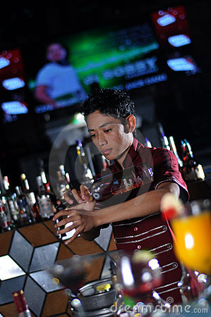 Bartender in action