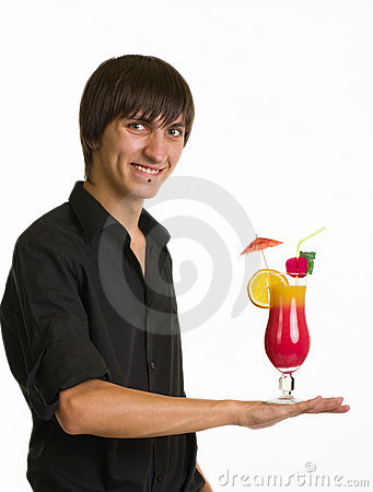 Bartender portrait with alcohol cocktail drink