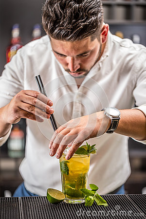 Free Bartender Preparing Mojito Cocktail Stock Photo - 74231090