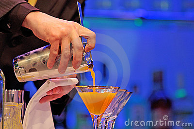Bartender serving a drink