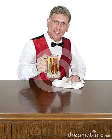 Bartender Tending Bar Serving Beer, Isolated