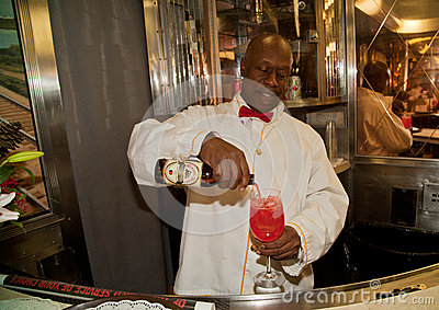 Bartender at the Troop train Editorial Stock Image