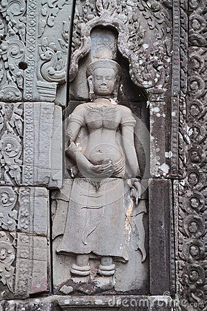 Bas-relief of Banteay Kdei temple.Angkor. Siem Reap. Cambodia