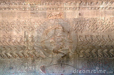 The bas-relief of the Churning of the Sea of Milk